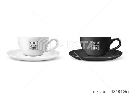 Realistic Vector 3d Blank White and Black Coffee Tea Cup, Mug Icon Closeup Isolated on White 48404067