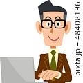 ビジネスマン ノートパソコン パソコン操作のイラスト 48408196