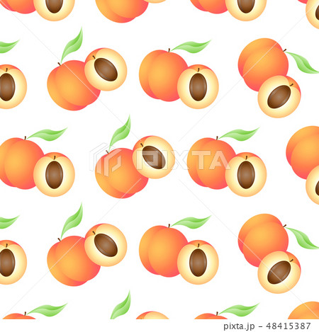 Background with juicy peaches, whole and half. 48415387