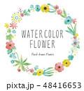 水彩の花フレームパステルカラー 48416653