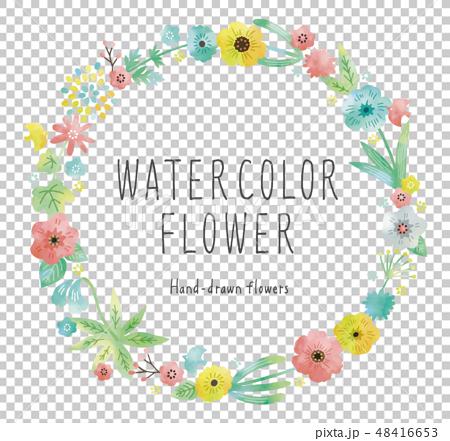 水彩花框架淡色 48416653