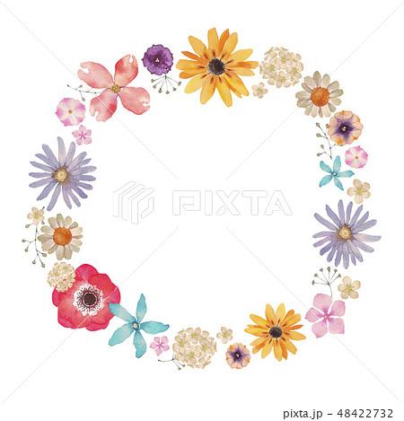 春の花 夏の花 背景 フレーム 水彩 イラスト 48422732