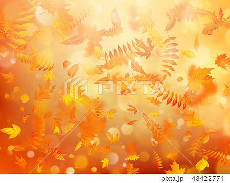 Autumn background with natural leaves and bright sunlight. EPS 10 48422774