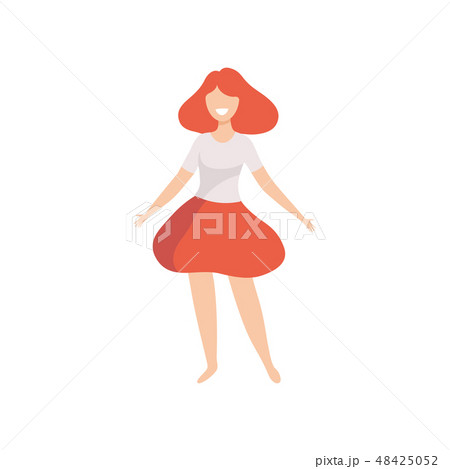 Happy Beautiful Woman in Casual Clothes, Body Positive, Self Acceptance and Beauty Diversity Concept 48425052