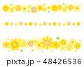向日葵のライン フレーム 背景素材 ポストカード 48426536