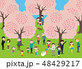 お花見で桜を楽しむ人々 48429217