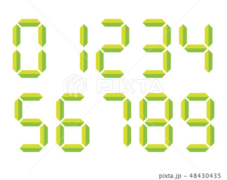Green 3D-like digital numbers. Seven-segment display is used in calculators, digital clocks or 48430435