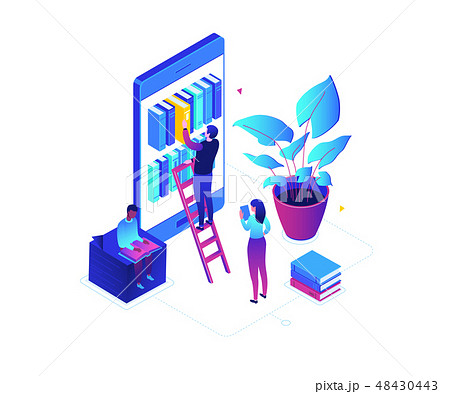 Online reading - modern colorful isometric vector illustration 48430443