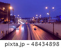 Six-lane road in the city at night, view from the bridge. 48434898