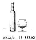 ウイスキー ブランデー ガラスのイラスト 48435392