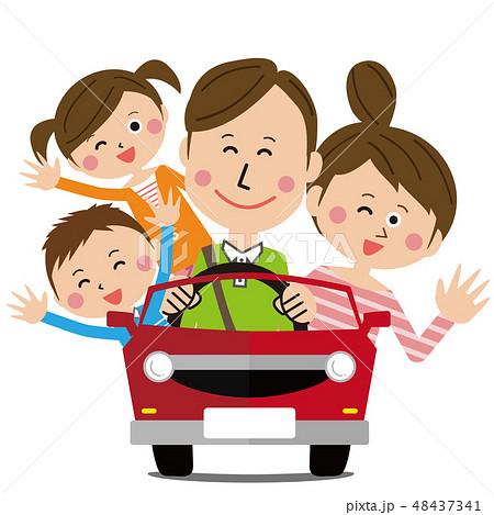 ポップな家族 オープンカーでドライブ  48437341