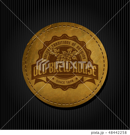 Craft beer brewery logo on round label background 48442258