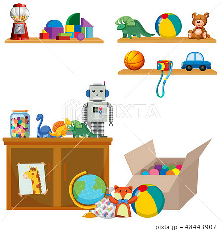 Scene of toys on shelves and cupboard 48443907