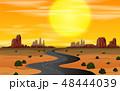 夕日 夕焼 日没のイラスト 48444039