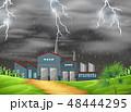 雷雨 嵐 暴風雨のイラスト 48444295