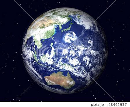 地球(日本付近に巨大台風)星あり 48445937