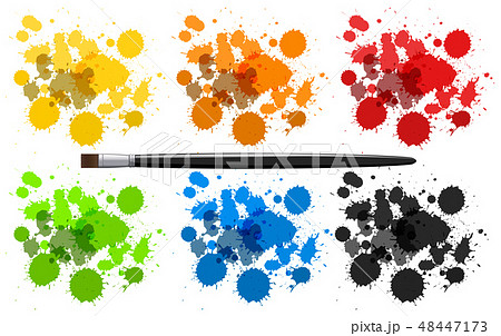 Six colors of watercolor splashes 48447173