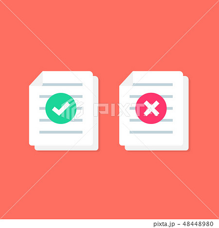 Document or Paper icon with Check mark. cross sign 48448980