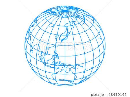 白い背景と水色の地球と罫線・緯線-ベクターイラスト 48450145