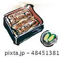うな重 食べ物 墨絵のイラスト 48451381