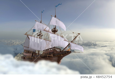 Sailboat flying above the clouds 3d illustration 48452754