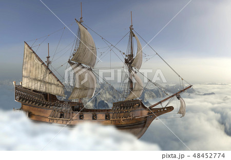 Sailboat flying above the clouds 3d illustration 48452774