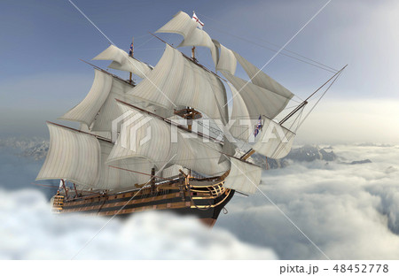 Sailboat flying above the clouds 3d illustration 48452778