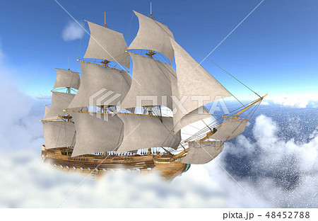 Sailboat flying above the clouds 3d illustration 48452788