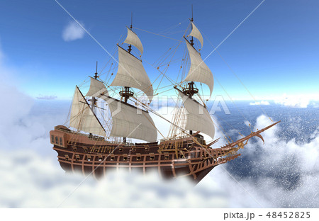 Sailboat flying above the clouds 3d illustration 48452825