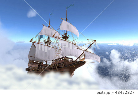 Sailboat flying above the clouds 3d illustration 48452827