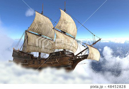 Sailboat flying above the clouds 3d illustration 48452828
