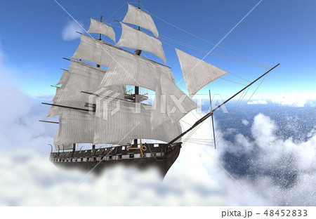 Sailboat flying above the clouds 3d illustration 48452833