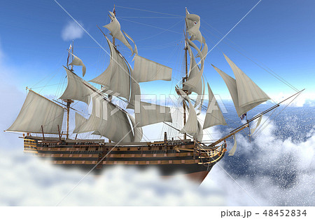 Sailboat flying above the clouds 3d illustration 48452834