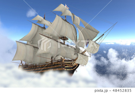 Sailboat flying above the clouds 3d illustration 48452835