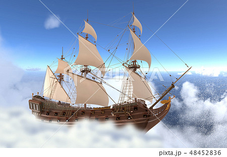 Sailboat flying above the clouds 3d illustration 48452836