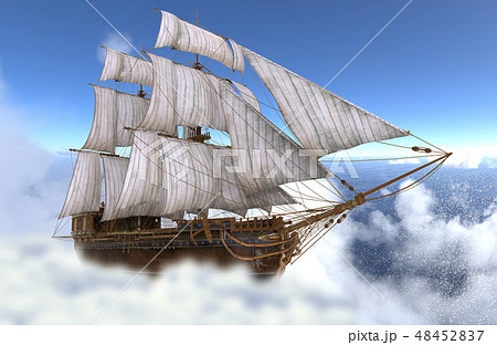 Sailboat flying above the clouds 3d illustration 48452837