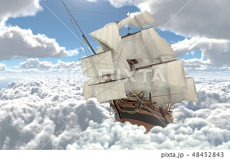 Sailboat flying above the clouds 3d illustration 48452843