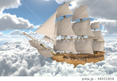 Sailboat flying above the clouds 3d illustration 48452858