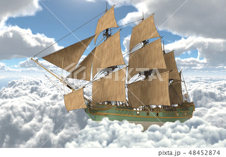 Sailboat flying above the clouds 3d illustration 48452874
