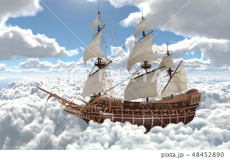 Sailboat flying above the clouds 3d illustration 48452890