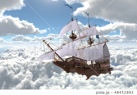 Sailboat flying above the clouds 3d illustration 48452893