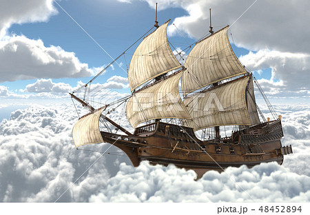 Sailboat flying above the clouds 3d illustration 48452894