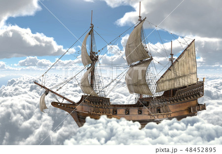 Sailboat flying above the clouds 3d illustration 48452895
