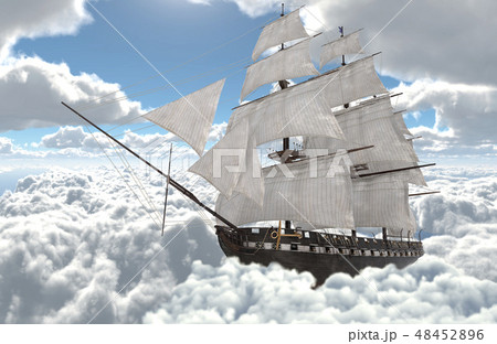 Sailboat flying above the clouds 3d illustration 48452896