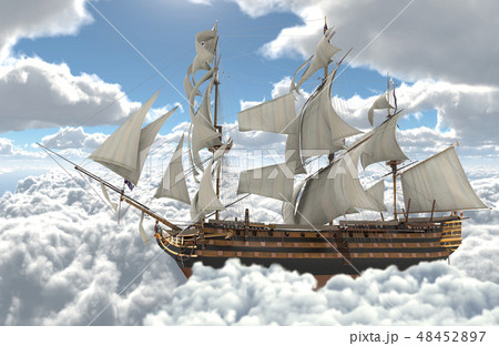Sailboat flying above the clouds 3d illustration 48452897
