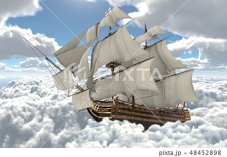 Sailboat flying above the clouds 3d illustration 48452898