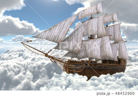 Sailboat flying above the clouds 3d illustration 48452900