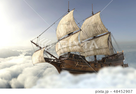 Sailboat flying above the clouds 3d illustration 48452907