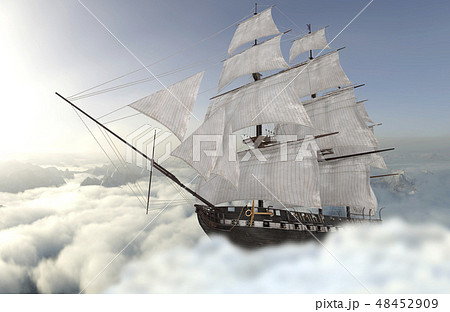 Sailboat flying above the clouds 3d illustration 48452909