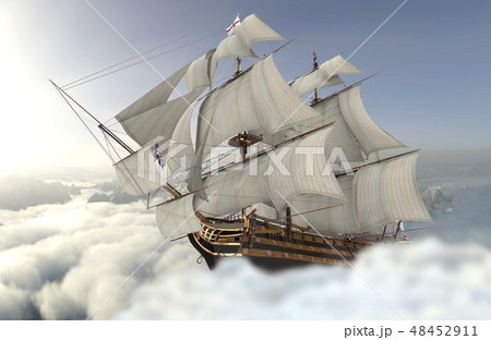 Sailboat flying above the clouds 3d illustration 48452911